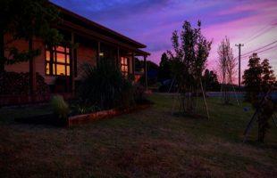 平屋、夕焼け、トワイライト、クラシックデザイン